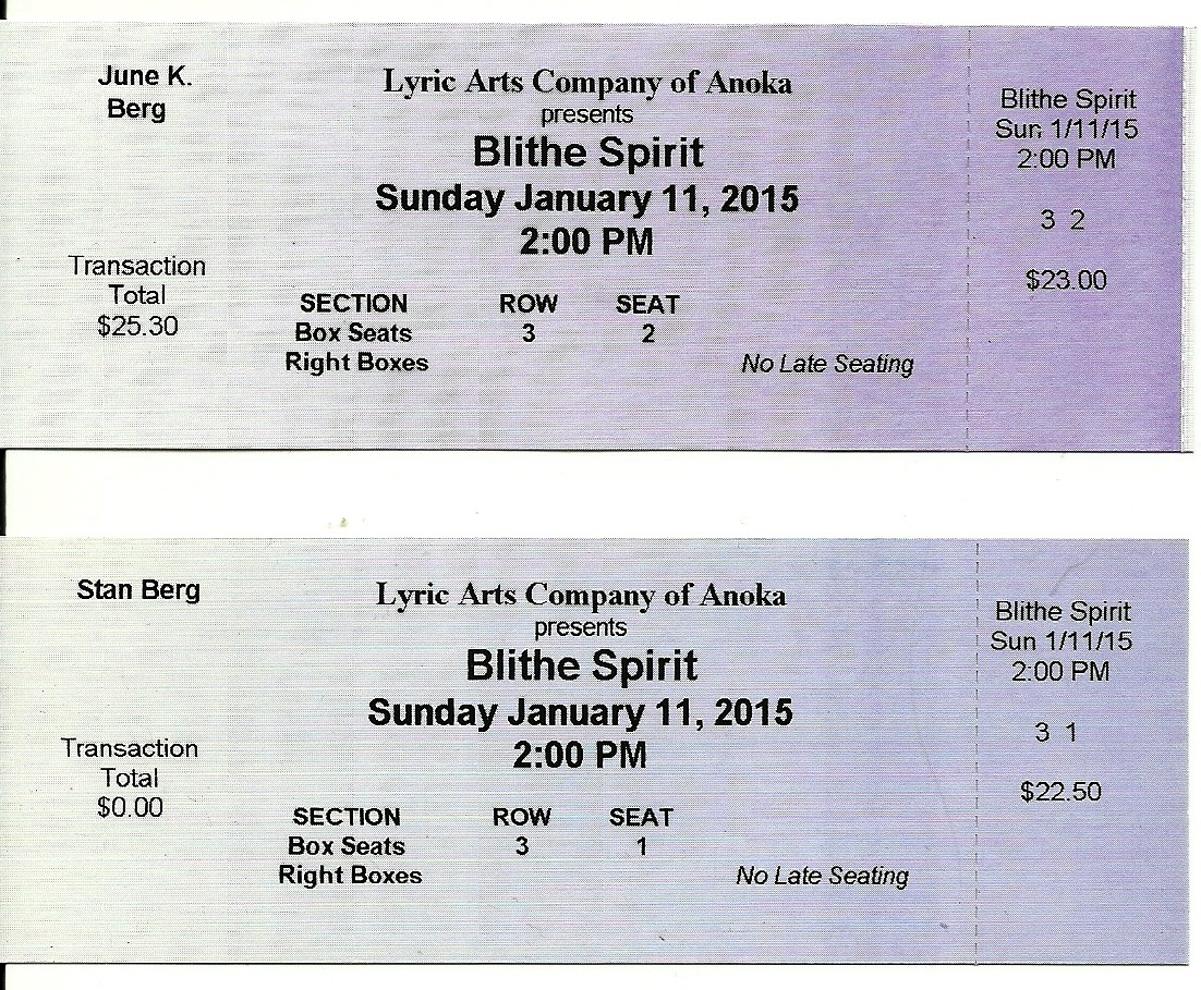 June and Stan's Lyric Tickets