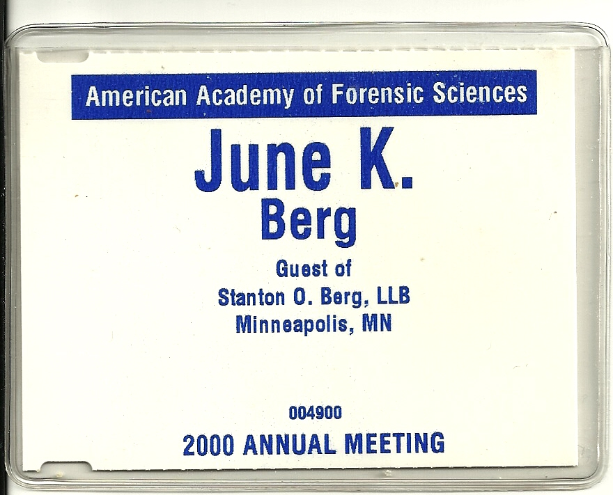 June's AAFS name tag