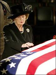 Thatcher viewing Reagan's casket