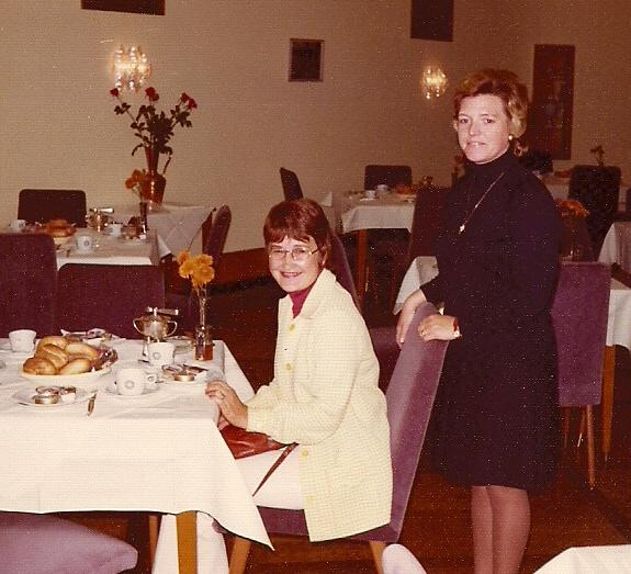 June Berg in Hotel dining room Gottingen 1974