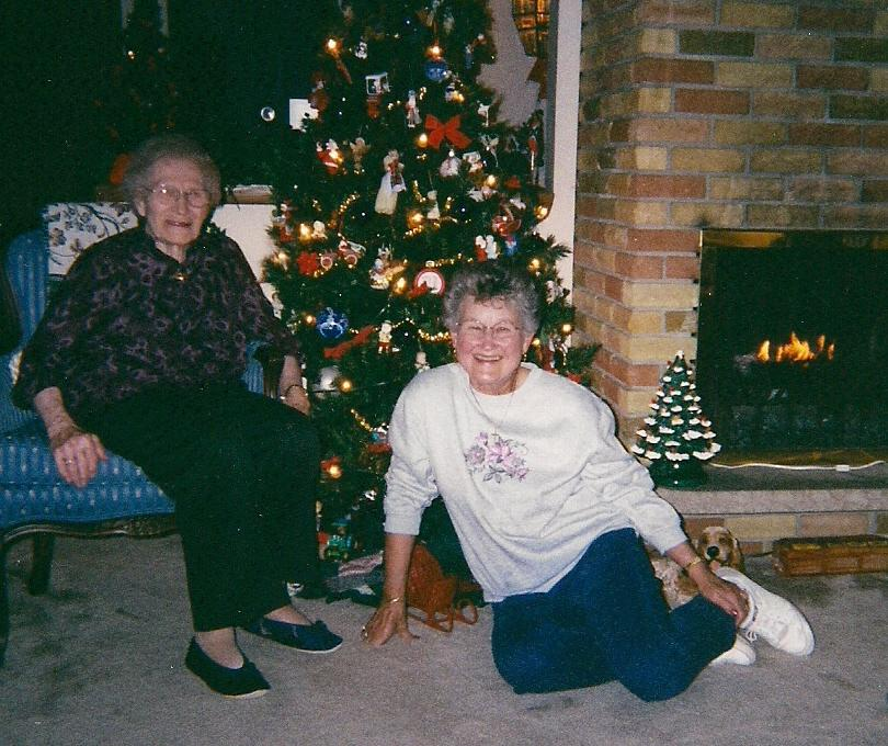 June and Ellen at Christmas time 2000