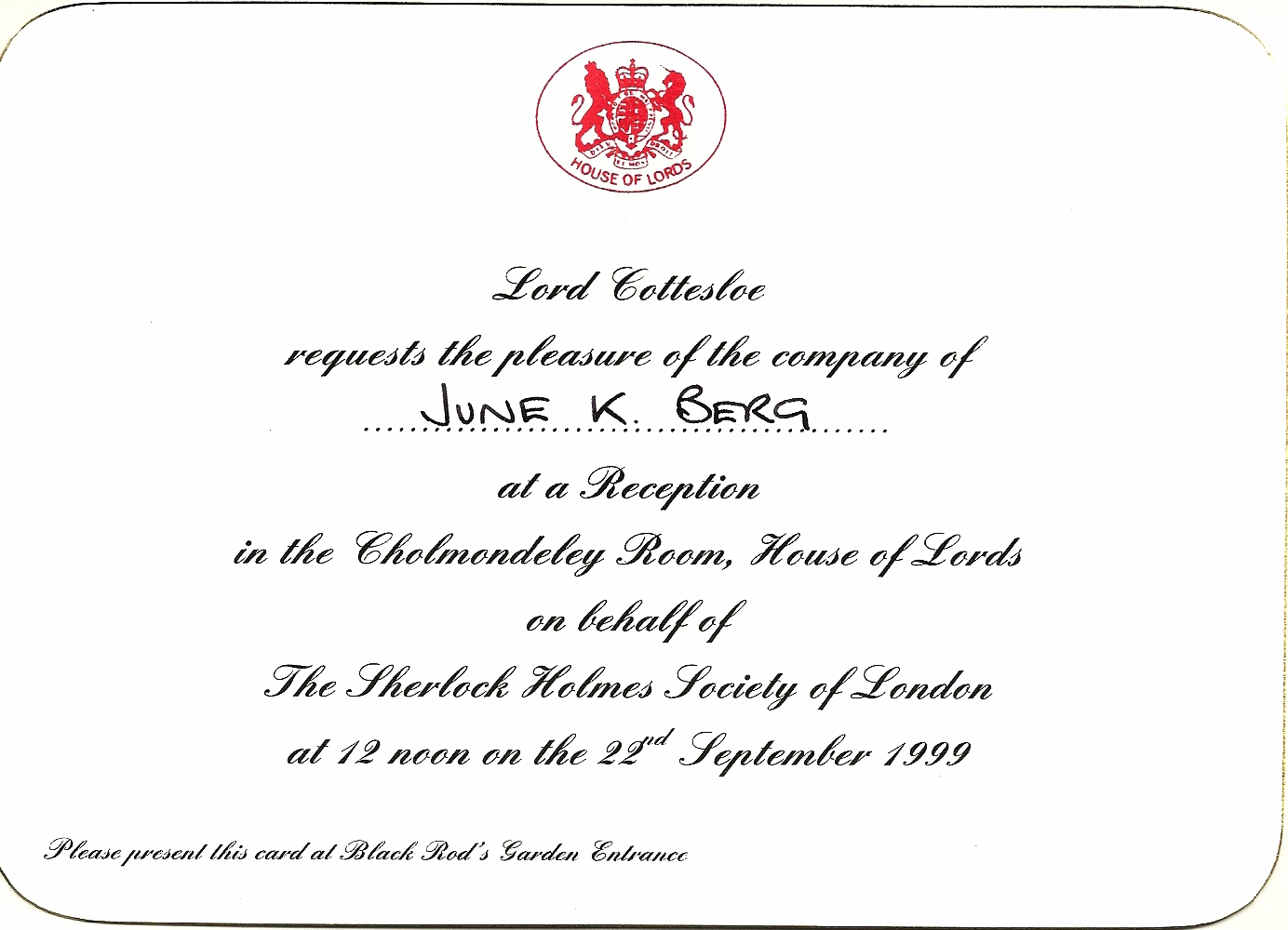 June's Invitation to House of Lords
